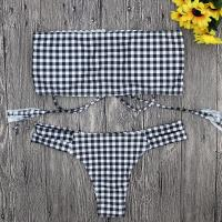 Buy cheap Wholesale and Retail 2018 Women Sexy Lattice Printing Strappy Bandeau Bikini Set from wholesalers
