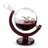 Buy cheap Borosilicate Etched Glass Decanter , Globe Whiskey Decanter With Wine Glass Cup Gift Set from wholesalers