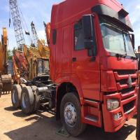 Buy cheap red color high cabs 40ton operation china howo used trailer  tractor truck head from wholesalers