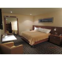 Budget Hotel Bedroom Furniture Laminated Cherry wood Double Bed with Headboard and Reception Sofa Teatable