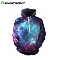Buy cheap Autumn Winter Space Galaxy 3D print Sweatshirts Men And Women Loose With Hat Stars Loose Hoodies from wholesalers