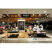 Buy cheap Shopping Mall Clothing and Shoe store design by Wood display Koisk with shelves  in Wall and Black metal selling-counter from wholesalers