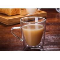 Buy cheap Handmade Healthy Clear Double Wall Espresso Cups Custom Capacity With Handle from wholesalers