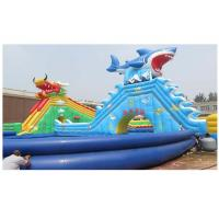 Buy cheap 0.9MM PVC Tarpaulin Big Dragon / Shark Inflatable Water Park With Large Blue Swimming Pool from wholesalers