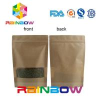 Buy cheap Flat Bottom Brown Customized Paper Bags / Craft Paper Bag With Zipper from wholesalers