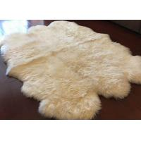 Buy cheap Ivory White Fur Living Room Rug 6 Pelt , 5.5 X 6 Ft Bedroom Sheepskin Rugs  from wholesalers