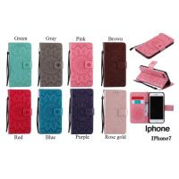 Buy cheap iPhone Leather Protective Folio Magnetic Kickstand Cover Mobile Phone Case with Sunflower Embossed from wholesalers