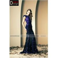 Buy cheap Hot Sale Floor-Length Skirt Lace Beaded Mermiad Eggplants Purple Sexy Evening Dresses from wholesalers