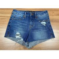 Buy cheap Raw Hem Ladies Fashion Jeans High Waisted Denim Shorts Light Wash Cotton With Rips from wholesalers