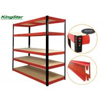 Buy cheap Red 5 Levels Boltless Storage Shelves Heavy Duty With Recycled Materials from wholesalers