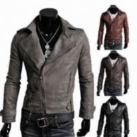Buy cheap 2013 Men's Fashionable PU Leather Jackets, Sized M, L , XL , 2XL and 3XL  from wholesalers