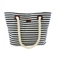 Buy cheap Custom Striped Ladies Canvas Tote Bags with Leather Handle / Canvas Weekend Travel Bag product