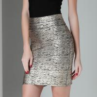Buy cheap Claire Sexy Skirt Good Elastic Celebrity Bandage Skirt Foil Silver Soild Pencil Mini Slim Stretch Lady Skirt Drop Ship from wholesalers
