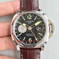 Buy cheap Panerai GMT SS Black Dial Brown Leather Strap Watch from wholesalers