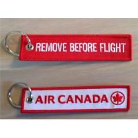 Buy cheap Air Canada Remove Before Flight Embroidered Keychain Key Tag with Customized Embroidered Logo, Accept Any Color and Size from wholesalers