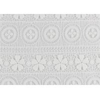 Buy cheap Polyester Water Soluble Lace Fabric With Linear Lace Designs For Ladies Party Dress from wholesalers