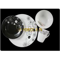 Black and White Flower Round Dinning Set , Kitchen Decorative Dinner Plates