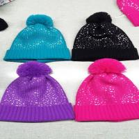 Buy cheap Acrylic Customizing Cheap Bling Bling wholesale beanie caps  Knitted Adult Pom Pom Hat from wholesalers
