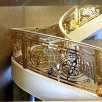 China Villa custom gold staircase ladder simple metal handrail Copper and aluminum stair railing on sale