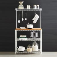 Buy cheap Baker's Wire Metal Shelving Rack White Powder Coating Steel With Wooden Shelf from wholesalers