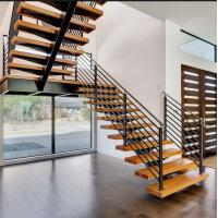 Buy cheap Single stringer support straight staircase used wrought iron accessories railing from wholesalers