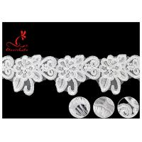 Buy cheap French Corded Nylon Wedding Lace Trim / Customized Embroidery Floral White Lace Ribbon product
