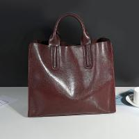 Buy cheap Cowhide Casual Tote Black Leather Handbags With Mobile Phone / Document Pocket from wholesalers