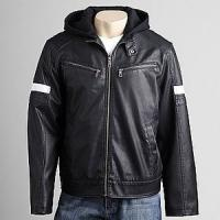Buy cheap 2012 men's new style hooded casual imitation leather jacket from wholesalers