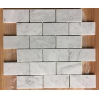 Buy cheap Subway Marble Mosaic Tile  3 X 6 Carrara White For Bathroom , 2/5 Thickness from wholesalers