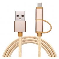 Buy cheap 2 in 1 nylon braided fast charging Type C  USB cable for Huawei Sumsang HTC mobile phones from wholesalers