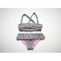 Buy cheap Navy Stripe Ladies' Recycled Bikini Set Recycled Material Frills Allover Contrasted Lining from wholesalers