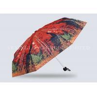 Red Mini Parasol Pocket Size Umbrella , Five Fold Umbrella Strong Aluminum Frame