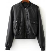 Buy cheap Ladies PU Leather Down Jacket , Zipper Short Warm Black Leather Bomber Jacket from wholesalers