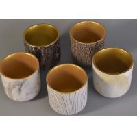 Buy cheap Bark Water Transfer Printing Handmade Ceramic Candle Holders with Golden Plating Inside from wholesalers