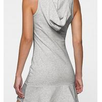 Buy cheap Cotton polyetser mini lengh sport hooded ruffle crew neck grey casual wholesale plus Dress from wholesalers