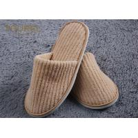 Buy cheap Cotton Coral Disposable Personalized Hotel Slippers With Eva Sole from wholesalers