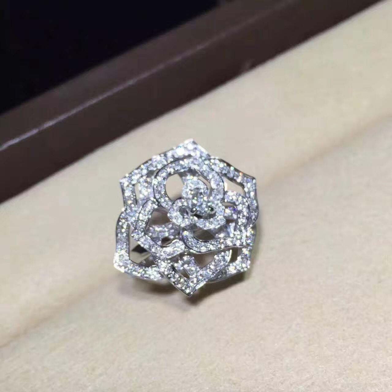 Buy cheap Piaget Rose Ring High End Custom Jewelry 18K White Gold Set With Diamond product