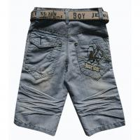 Buy cheap Boys short jeans 8-15 in light blue with nice stitching and embroidery from wholesalers