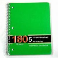 Buy cheap Single Spiral Notebook in Green, Available in Different Colors and Designs, Suitable for School Use from wholesalers