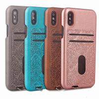 Buy cheap ID Credit Card Slot Embossed Leather Back Phone Case For Iphone X,For iPhone X back case cover with card holders from wholesalers