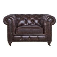 Soft High Back Chesterfield Armchair , Modern High Back Wing Chairs For Living Room