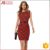 Buy cheap JS 20 Hot Selling Ladies Modern Dress Woman O Neck Red Plaid Designs 766 from wholesalers