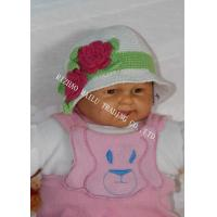 Buy cheap White Handmade Crochet Winter Hat For Baby With Red Flowers / Green Leaves from wholesalers