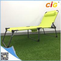 Buy cheap Adjustable Sling Tanning Bed Outdoor Furnitures With Side Bag , Comfortable Folding Day Bed product