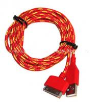 Buy cheap Red Color 30 Pin To USB Sync And Charge Cable Covered with Nylon , Two Sided product