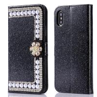 China Luxury  Diamonds Cover Leather Wallet Case With Card Slot Bling Phone Case For iPhone X on sale