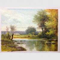 Impressionist Original Oil Landscape Paintings River Rock Landscaping Handmade On Canvas