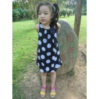 Sequences Little Girls Polka Dot Dress , Bow Shoulder Childrens Chiffon Dresses