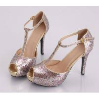Buy cheap 2014 hot sale women padded paillette dress shoes  peep toe T-Strap dancing platform sandal from wholesalers