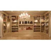 Buy cheap Luxcury Indoor Villa Furniture wood in-wall Wardrobe room by ivory white with mirror product